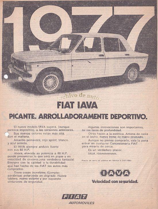 Fiat 128 IAVA del año 1977 comercializado por Fiat Automóviles published in Archivo de autos