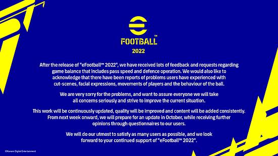 eFootball 2022 es tan malo que Konami se tuvo que disculpar published in Juegos