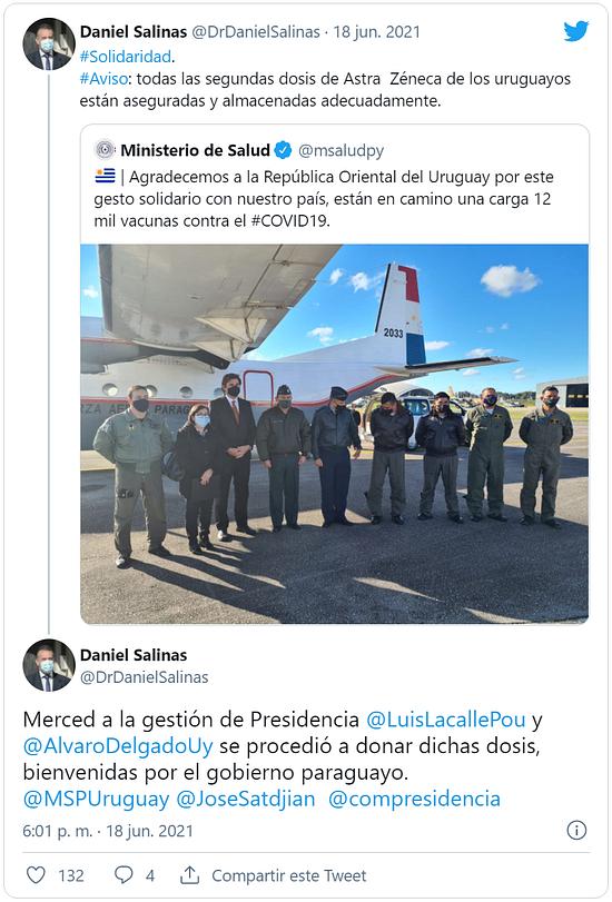 Uruguay donó 12.000 vacunas de AstraZeneca a Paraguay published in Noticias